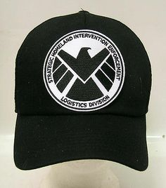 13e6cf5f725 AGENTS OF SHIELD TV Series Black   White Logo Baseball Cap Hat w Patch (