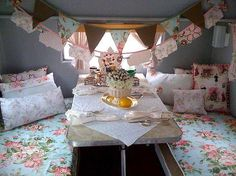 Cute vintage camper interior *I really want to do some type of buntings across the top of each bed, just not sure what I'll do yet. ~AM*