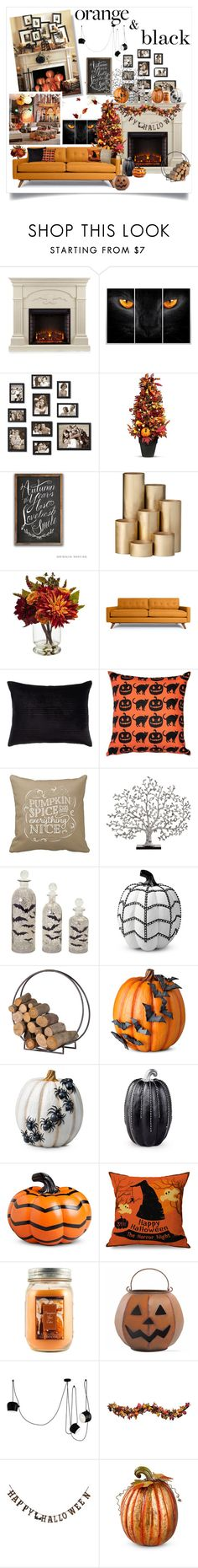 """""""Color Challenge: Orange & Black (Halloween Edition)"""" by dooda13 ❤ liked on Polyvore featuring interior, interiors, interior design, home, home decor, interior decorating, Southern Enterprises, Improvements, ferm LIVING and Nearly Natural"""