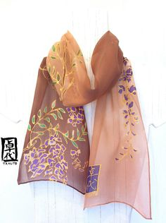 Silk scarf. Hand Painted. Kimono Chibi Wisteria Brown Japanese Silk Scarf. Silk Scarves Takuyo. Silk Chiffon. Silk Dye. 7x50 in.. $49.00, via Etsy.