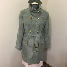 """ESCADA SPORT  Genuine Goat Suede leather S 8-10 Size 8-10.     Soft like butter , worn couple times ,no any signs of wearing, elegant olive green color,yellow metal buttons and hardware with Escada initials                           Length of trench coat is 32,5"""".  Length of sleeves 23"""" Escada sport Jackets & Coats Trench Coats"""