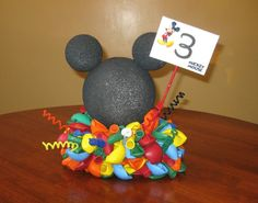 Cute Mickey Mouse centerpiece with balloons Mickey E Minie, Mickey Mouse Clubhouse Birthday Party, Mickey Mouse 1st Birthday, Mickey Mouse Parties, Mickey Party, 2nd Birthday Parties, Birthday Ideas, Half Birthday, Baby Mickey