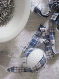 plaid Christmas ornaments from men's shirts as a plaid party favor