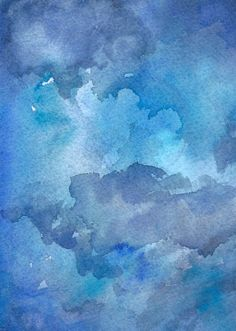 This blue monochromatic landscape painting is an original watercolour of abstract sky and clouds.  ♦︎ This is an Original Watercolour - not