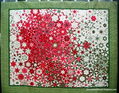 """Wow! """"One Block Wonder"""" quilt using only one fabric & one block (hexagon) ~ artist unnamed, from St. Cloud Heritage Quilter's Running with Scissors quilt show 2013   via Moose Bay Muses   concept by Maxine Rosenthal, books @ Amazon: https://www.amazon.com/Maxine-Rosenthal/e/B001JRZGI4/"""