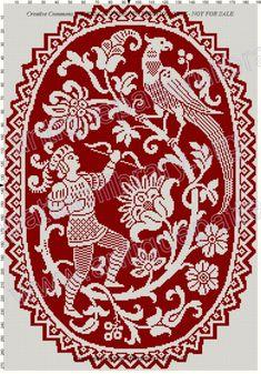 Gallery.ru / Фото #211 - Le Filet Ancien au Point de Reprise III - gabbach Embroidery Patterns Free, Cross Stitch Embroidery, Embroidery Books, Red Pattern, Pattern Art, Cross Stitch Designs, Cross Stitch Patterns, Cross Stitch Tree, Halloween Cross Stitches