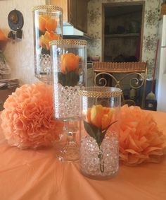 View the white paper guided quinceanera party DIY Quinceanera Centerpieces, Rose Centerpieces, Quinceanera Party, Wedding Table Centerpieces, Quince Decorations, Diy Wedding Decorations, Birthday Decorations, Jasmin Party, Orange Wedding