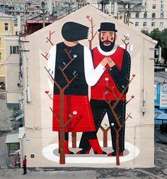 Agostino Iacurci - Street Art - Created during LGZ festival, curated by Street kit, Moscow, Russia 3d Street Art, Street Art News, Best Street Art, Amazing Street Art, Street Art Graffiti, Street Artists, Banksy Graffiti, Urban Graffiti, L'art Du Portrait
