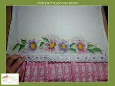 Pano de prato - pintado à mão - flores - Além Brasil