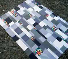 Washi Tiles quilt top by Wishes, True and Kind.  Inspiration from Elizabeth Hartman's Craftsy class, Inspired Modern Quilts.