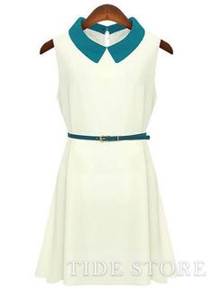 To find out about the White Contrast Collar Sleeveless Belt Chiffon Dress at SHEIN, part of our latest Dresses ready to shop online today! Cheap Dresses, Casual Dresses, Fashion Dresses, White Sleeveless Dress, Chiffon Dress, England Fashion, White Dress Summer, Jumper Dress, Dress Tops