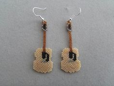 Beaded Acoustic Guitar Earrings