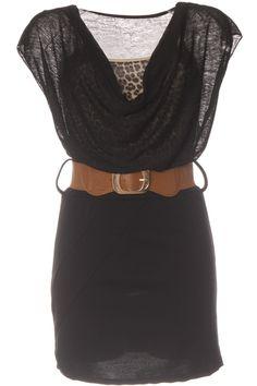 Robe Noir col tombant en voile, débardeur motif léopard et ceinture 2 en 1.  Vêtement femme Prix   8.72 € HT cb6575cd14d7