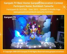 Rushikesh Tamuche Home Ganpati Picture View more pictures and videos of Ganpati Decoration at www. Ganpati Decoration Theme, Eco Friendly Ganpati Decoration, Gauri Decoration, Ganapati Decoration, Decoration Pictures, Decorating With Pictures, Ganpati Picture, Ganpati Festival, Cloud Decoration