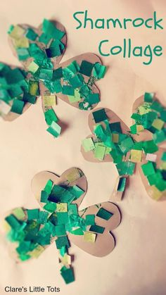 shamrock collage st patrick's day craft for toddlers
