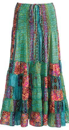 Hippy Dress Bohemian Tiered Strapless Paisley Patchwork Skirt Dress Fair Trade Folio Gothic Hippy