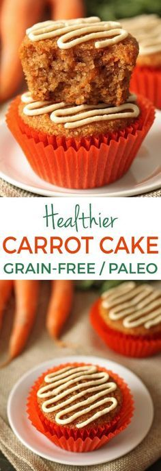 These gluten-free and grain-free carrot cake cupcakes have the. These gluten-free and grain-free carrot cake cupcakes have the best fluffy texture! Naturally sweetened and with a paleo and dairy-free option. Gluten Free Sweets, Gluten Free Cakes, Paleo Dessert, Healthy Sweets, Dairy Free Recipes, Dessert Recipes, Easter Recipes, Dairy Free Cupcakes, Paleo Cupcakes