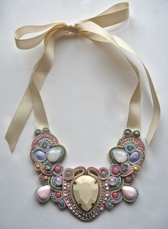THE ONE soutache statement necklace in ivory, pastel pink, blue, green, lavender with pink rubies and Swarovski crystals. £70.00, via Etsy.