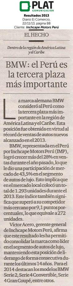 Inchcape Motors: Resultados comerciales de 2013 en el diario El Comercio de Perú (22/01/14)