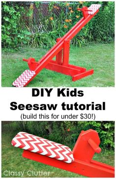 DIY Kids Seesaw for Under 30 Try this DIY gift for kids if you are good at woodworking projects. It is budget friendly but certain to bring smiles to childrens' faces! Gifts for kids 40 DIY Gifts for Kids They Will Treasure 40 Diy Gifts, Diy Gifts For Kids, Diy For Kids, Kids Seesaw, Outdoor Projects, Diy Projects, Pallet Projects, Wood Projects For Kids, Woodworking For Kids