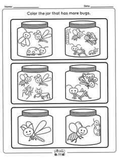 Bugs More or Less Worksheets - Itsy Bitsy Fun Preschool Bug Theme, Preschool Classroom Decor, Numbers Preschool, Preschool Math, Classroom Themes, Pre K Math Worksheets, Shapes Worksheet Kindergarten, Bug Activities, Early Learning Activities