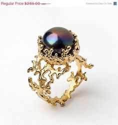 CORAL Black Pearl Ring Gold Pearl Ring by AroshaTaglia