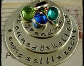 Grandma  or Mommy Necklace Hand Stamped Jewelry Personalized Triple Stack for Lots of Children and Grandchildren