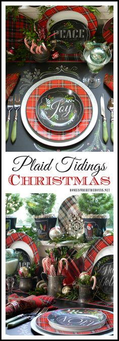 christmas dinner place setting tablescape tartan plaid