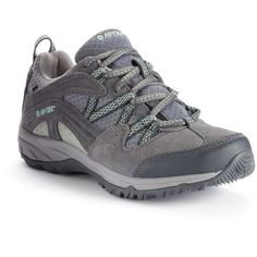 Hi-Tec Celcius Waterproof Women's Hiking Boots ($80) ❤ liked on Polyvore featuring shoes, grey, water proof hiking boots, breathable shoes, grey shoes, gray hiking boots and mesh shoes