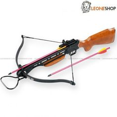"""Rifle Crossbow 150 Lbs MAN-KUNG, professional crossbows with Rosewood anatomic gun handle and shoulder rests to have a steady and safe grip, alluminium body with fiber bow, viewfinder, controller and polyester string - Lenght 34"""" - Bow Lenght 26"""" - Weight 5.61 lbs - Shooting power 150 Lbs - Speed 210 fps - Complete of 2 bolts with aluminium body and metal tip - Professional Pistol Crossbows, blowguns and Slingshots, spare darts for crossbow MAN-KUNG and the whole series of dedicated spares."""