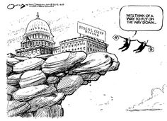 """Flying"" off the fiscal cliff.  By Jack Ohman #GoComics"