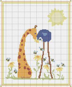 Elephant + Giraffe cross stitch pattern.