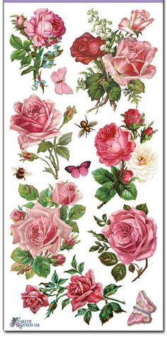 Stickers-PINK ROSES-Decoupage-Collage-Mixed Media-Scrapbooking-Clear Stickers-2 Sheets-Violette Stickers: