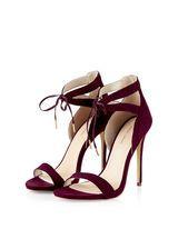 Chaussures à talons bordeaux avec découpes et lacet devant | New Look