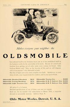 1905 Ad Oldsmobile Car John Lothrop Motley Henry Hutt - ORIGINAL ADVERTISING CL6