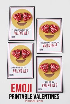 Free Emoji Printable Valentine's cards - my kids will love these for Valentine's Day.