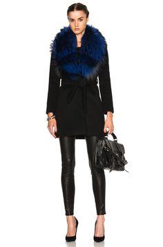 FWRD Exclusive Vanessa Coat with Fox Fur Collar in Black & Electric Blue