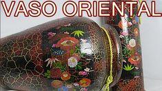 CRAQUELADO COM EFEITO PINTURA ORIENTAL EM VASO DE CERÂMICA Mandala Painting, Stained Glass Art, Porcelain, Dots, Ceramics, Oriental, Metal, Inspiration, Pallet Crafts