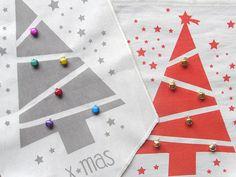 Banderín navideño con cascabelitos. Serigrafiado a mano. Christmas pennant. Hand made. Screen printed. Pic by Humm