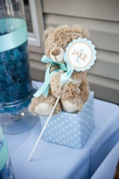 baby shower teddy bear centerpiece | orange and blue first birthday party teddy bear centerpiece