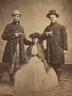 Runaway Teenage Slave from Kentucky was helped two Freedom by these two Wisconsin Union Soldiers in 1862. They disguised her as a Mullato Soldier Boy. (From the Library of Congress)