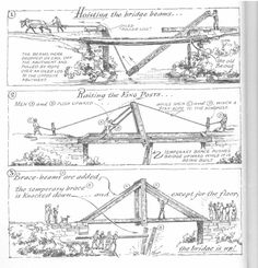 Eric Sloane illustration on building a bridge