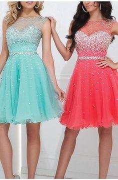 Scoop Neckline Open Back Short Prom Dresses