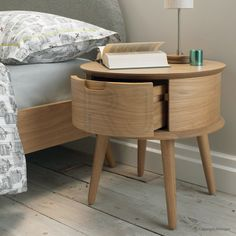 Enchanting Round Nightstand For Bedroom Furniture Ideas: Teak Wood Round Nightstand With Single Drawer And Four Legs For Bedroom Furniture Ideas
