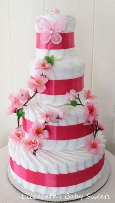 Cherry Blossom girl diaper cake by Elizabethsbabysweets on Etsy Baby Shower Cakes, Baby Shower Gifts, Baby Gifts, Diy Diaper Cake, Nappy Cakes, Shower Bebe, Girl Shower, Girl Baby Shower Decorations, Baby Decor