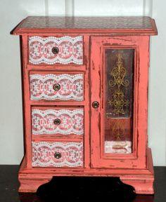 Jewelry Box Shabby Chic Peach Pink Leopard Print by retrosideshow, $95.00