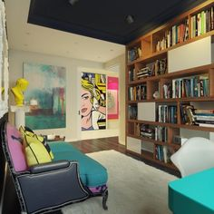 The apartment is in the style of pop art - http://www.decorationtrend.com/interior-design/the-apartment-is-in-the-style-of-pop-art/