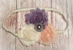 Gray/Silver Peach and Ivory  Shabby Chic by LaBandeauxBowtique, $7.50