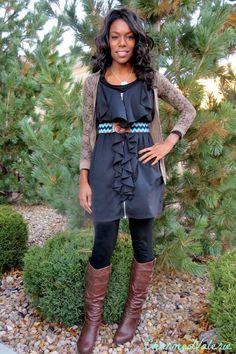 Outfit Idea: cardigan, dress, belt, boots http://charmedvalerie.com/2013/11/i-wore-dress-statement-belt-boots-2/