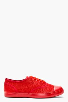 CHRISTIAN PEAU Crimson Red Snakeskin Canvas Low Top Sneakers